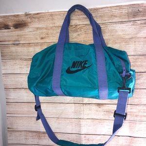 Vintage Nike 90s Green and Purple Duffle Bag